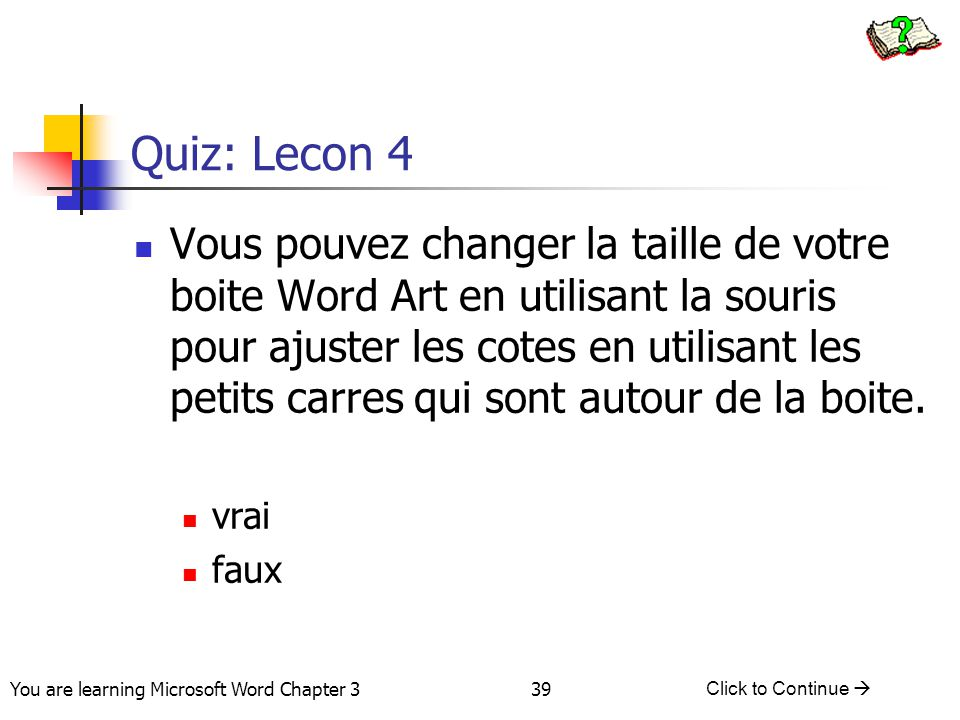 Quiz: Lecon 4