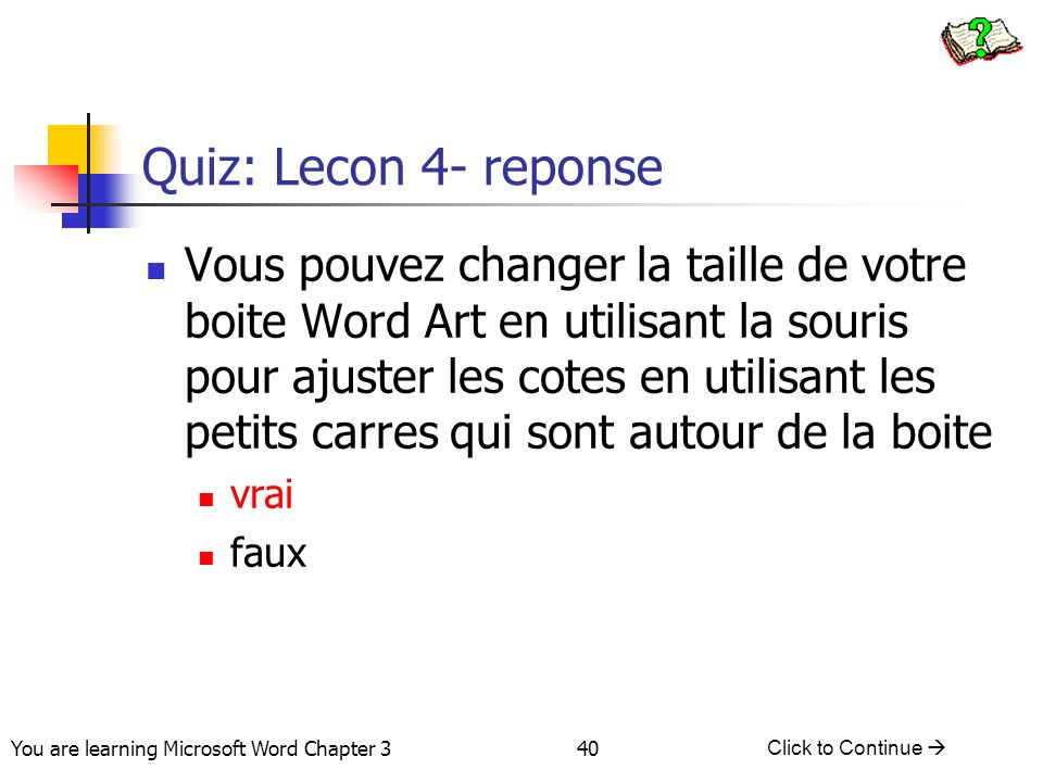 Quiz: Lecon 4- reponse