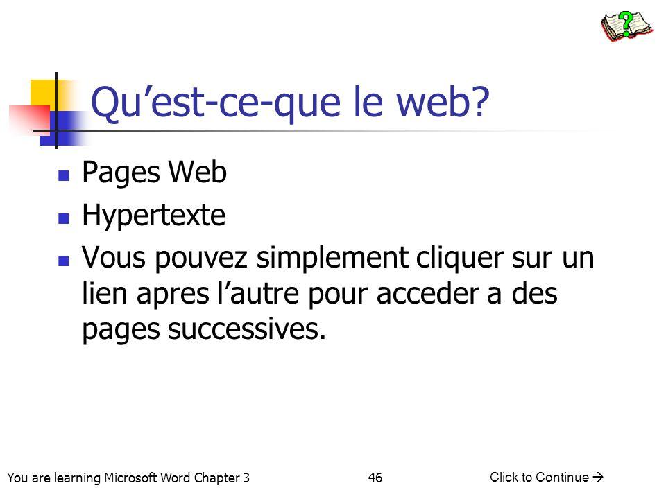 Qu'est-ce-que le web Pages Web Hypertexte