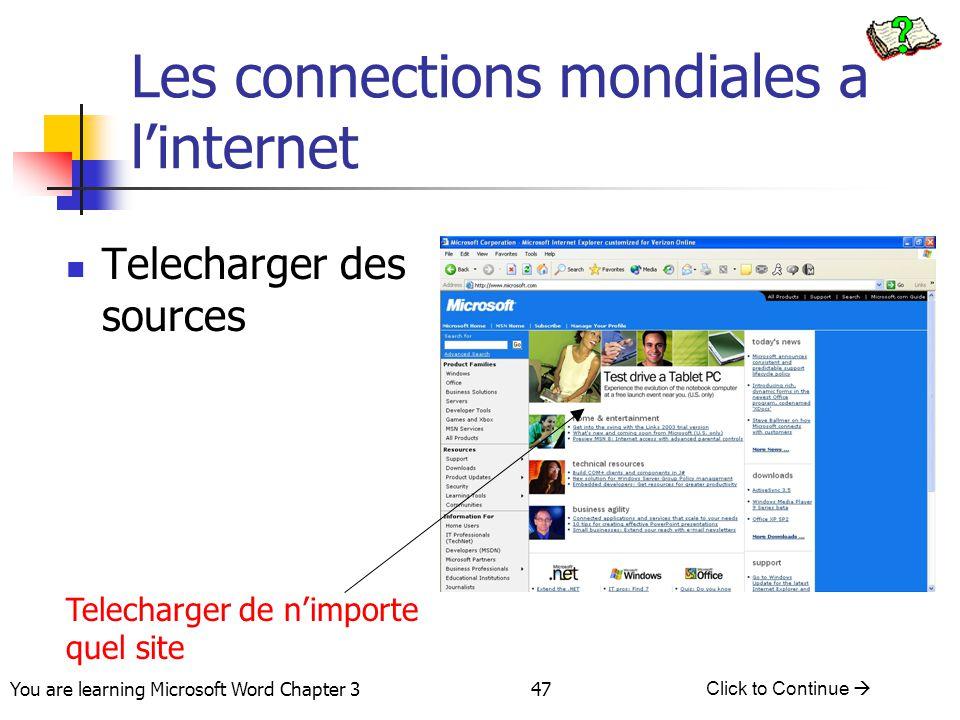 Les connections mondiales a l'internet