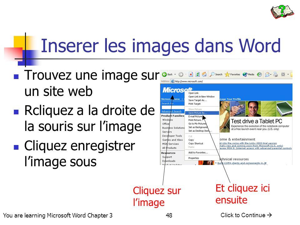 Inserer les images dans Word