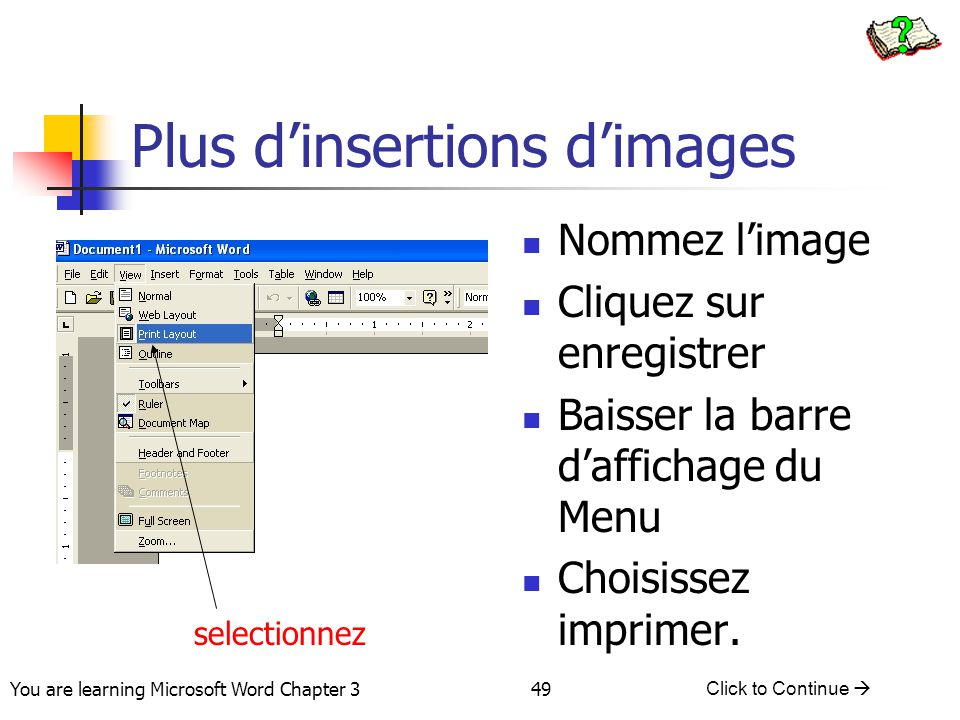 Plus d'insertions d'images