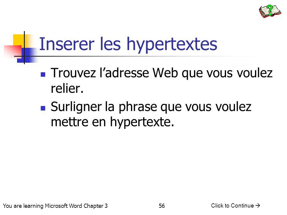 Inserer les hypertextes