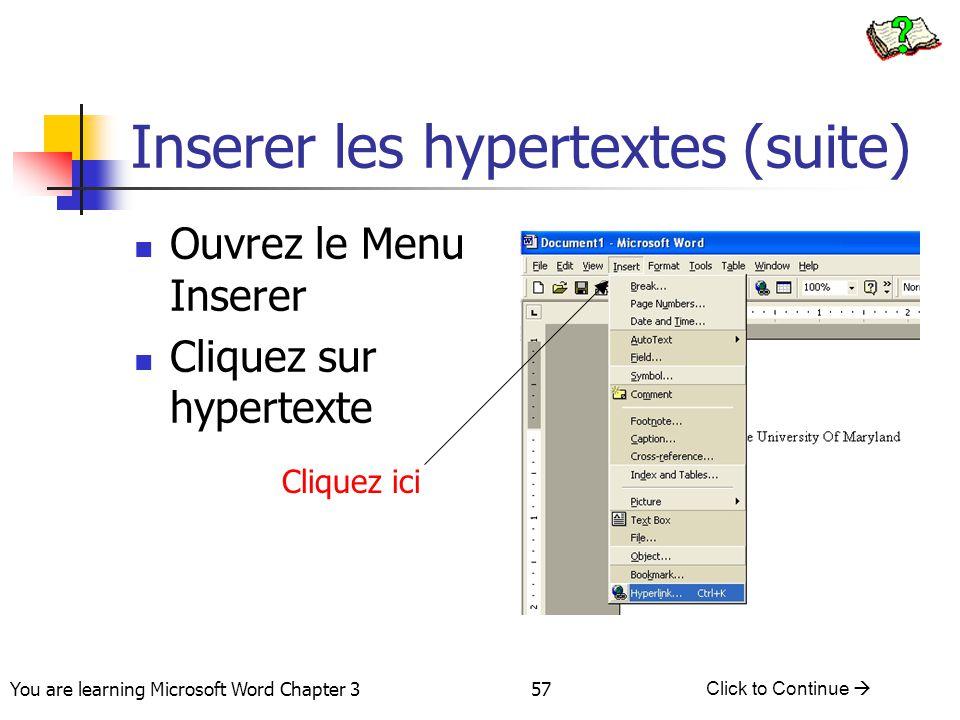 Inserer les hypertextes (suite)
