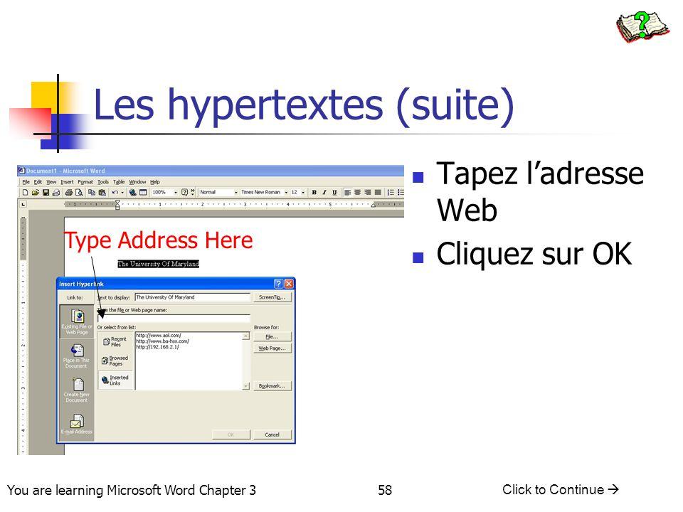 Les hypertextes (suite)