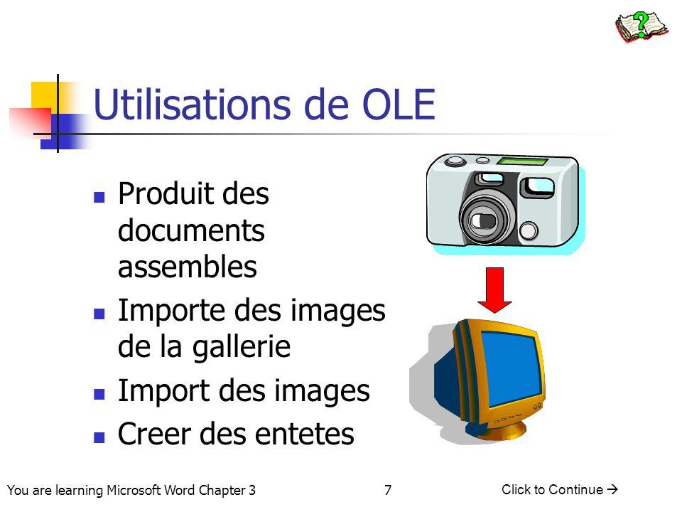Utilisations de OLE Produit des documents assembles