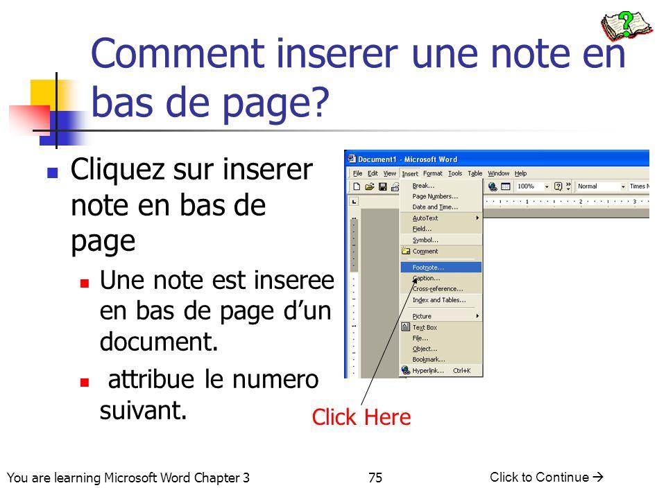 Comment inserer une note en bas de page
