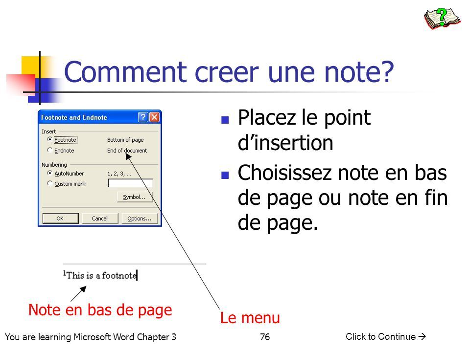 Comment creer une note Placez le point d'insertion