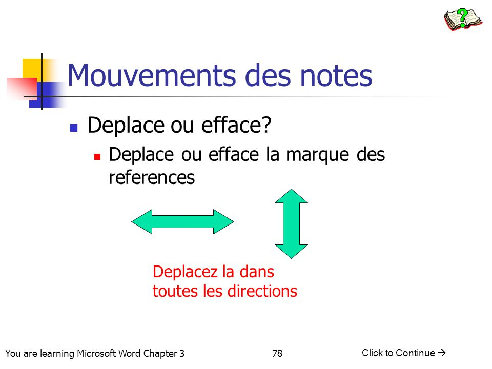 Mouvements des notes Deplace ou efface