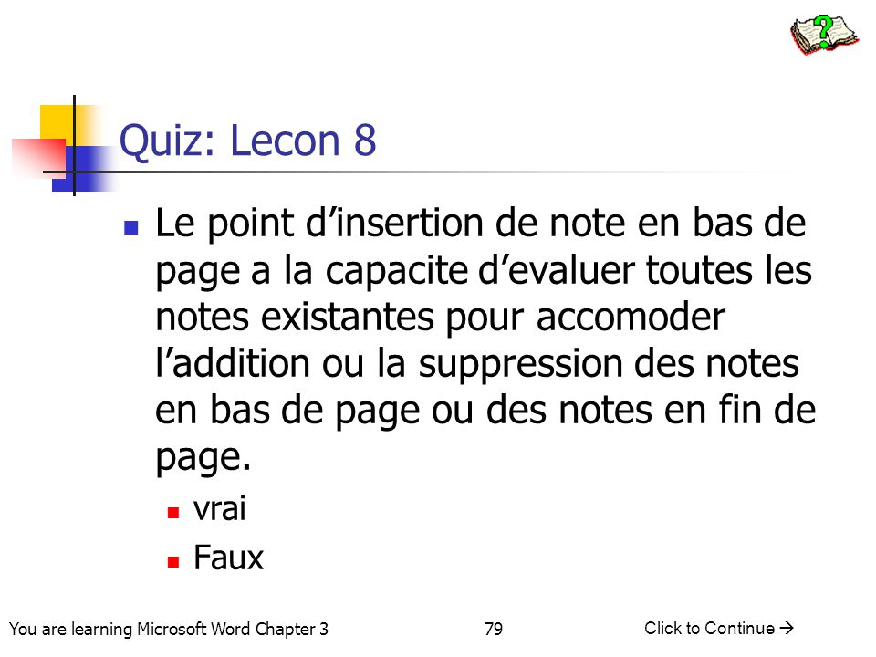 Quiz: Lecon 8