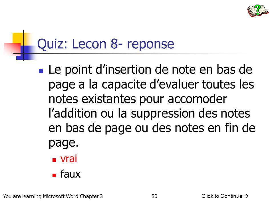 Quiz: Lecon 8- reponse