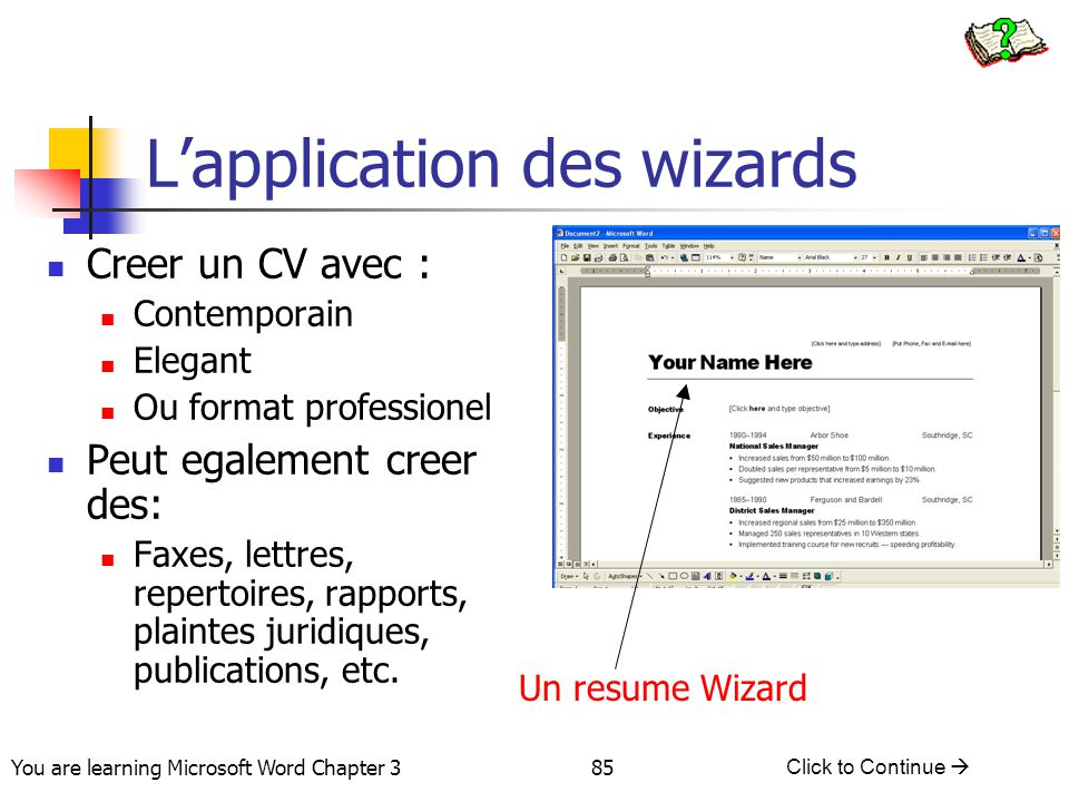 L'application des wizards