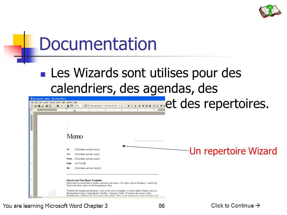 Documentation Les Wizards sont utilises pour des calendriers, des agendas, des couvertures de faxs et des repertoires.