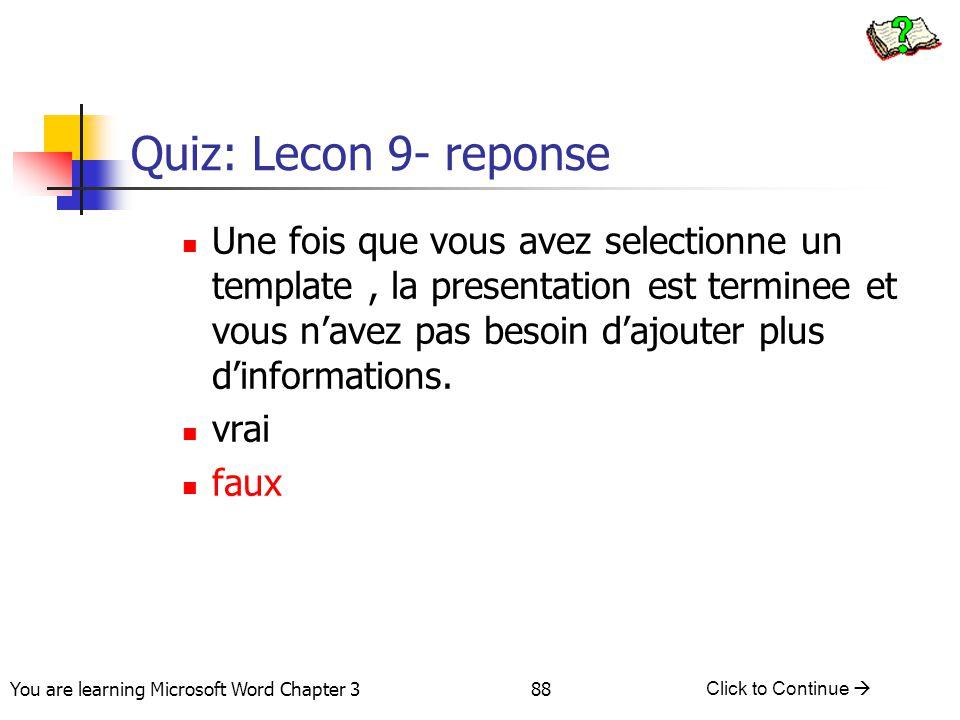 Quiz: Lecon 9- reponse