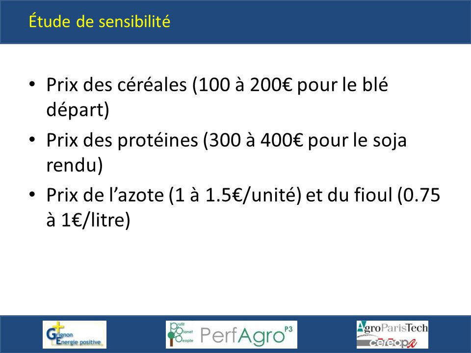 Prix des céréales (100 à 200€ pour le blé départ)
