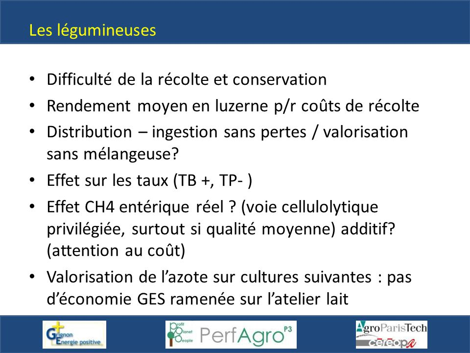 Les légumineuses Difficulté de la récolte et conservation. Rendement moyen en luzerne p/r coûts de récolte.