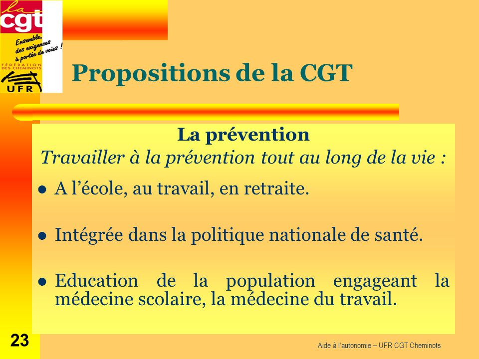 Propositions de la CGT La prévention