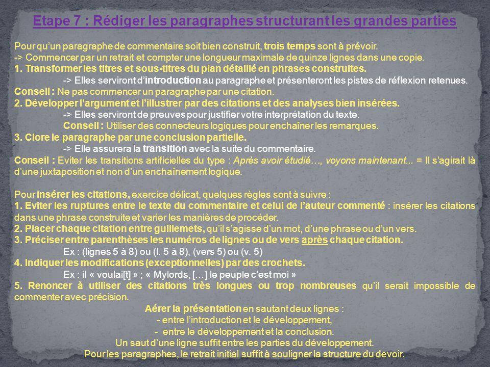 Etape 7 : Rédiger les paragraphes structurant les grandes parties