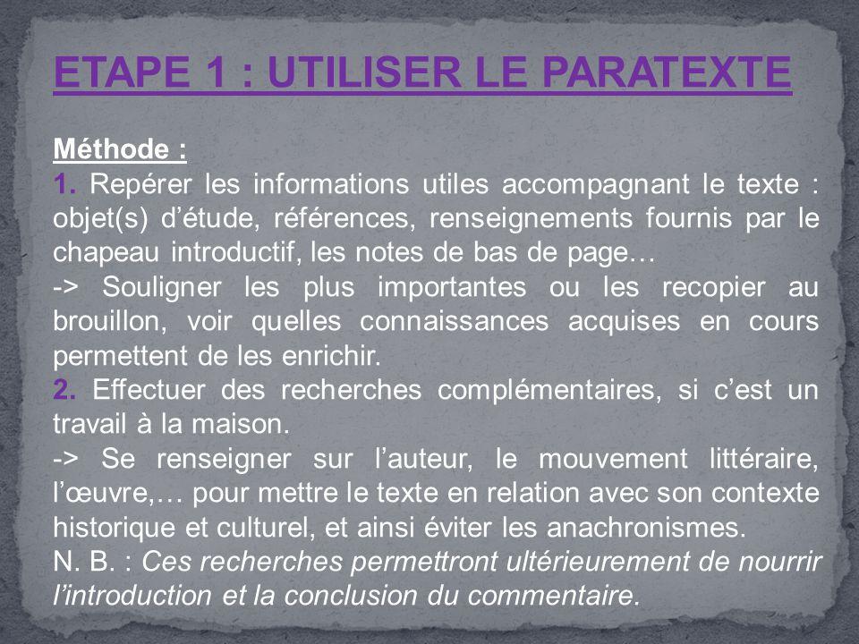 ETAPE 1 : UTILISER LE PARATEXTE