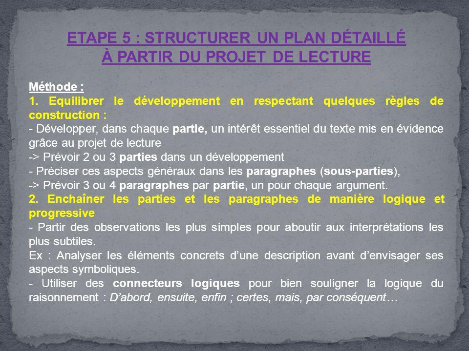 ETAPE 5 : STRUCTURER UN PLAN DÉTAILLÉ À PARTIR DU PROJET DE LECTURE