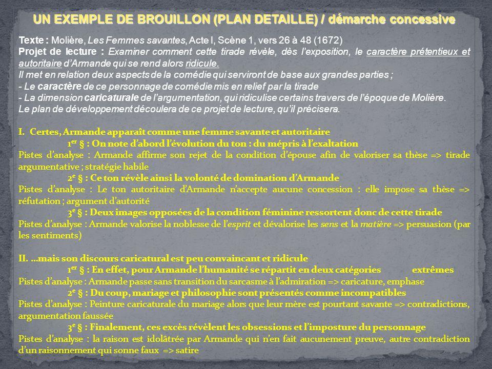 UN EXEMPLE DE BROUILLON (PLAN DETAILLE) / démarche concessive
