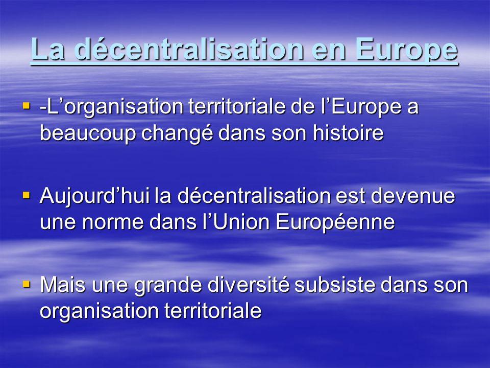 La décentralisation en Europe