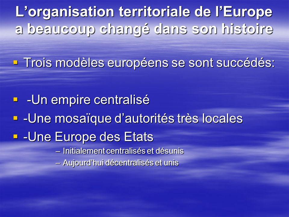 L'organisation territoriale de l'Europe a beaucoup changé dans son histoire