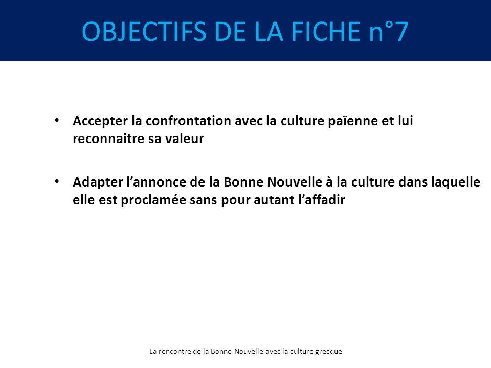OBJECTIFS DE LA FICHE n°7