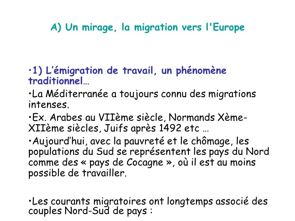 A) Un mirage, la migration vers l Europe