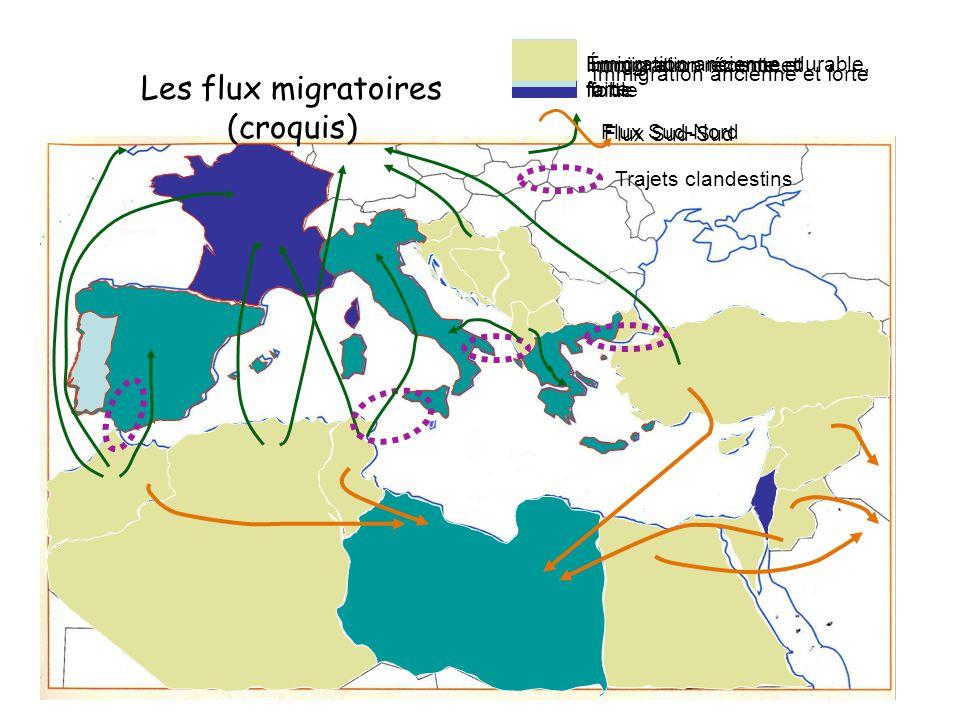 Les flux migratoires (croquis)