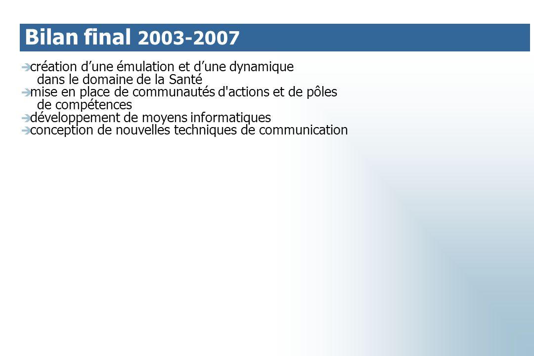 Bilan final 2003-2007 création d'une émulation et d'une dynamique