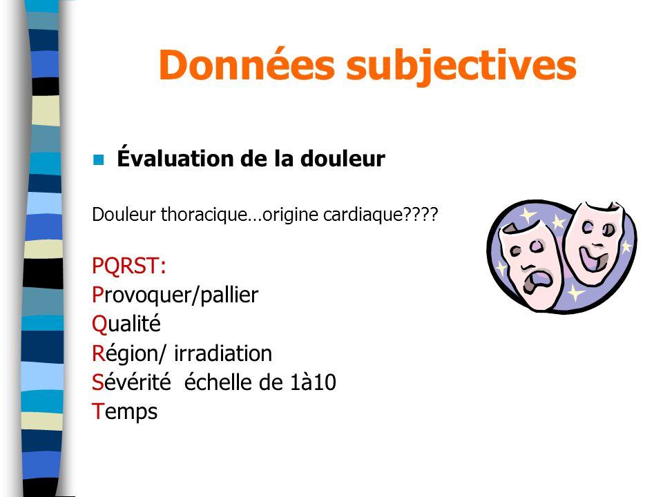 Données subjectives Évaluation de la douleur PQRST: Provoquer/pallier