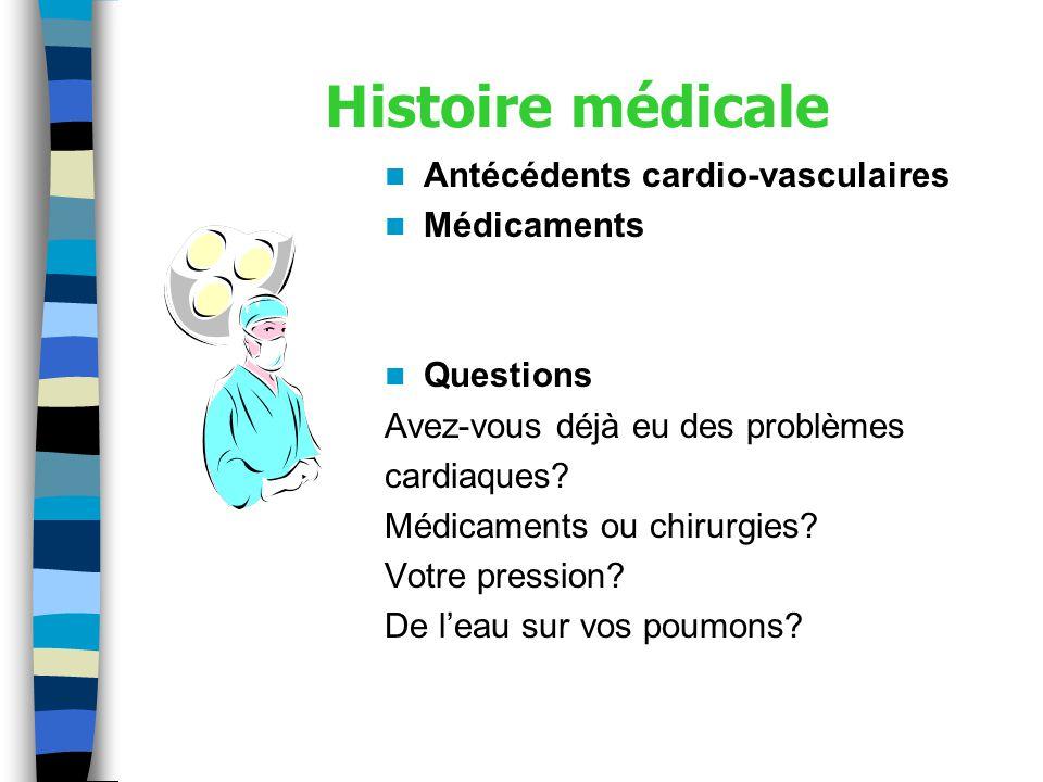 Histoire médicale Antécédents cardio-vasculaires Médicaments Questions