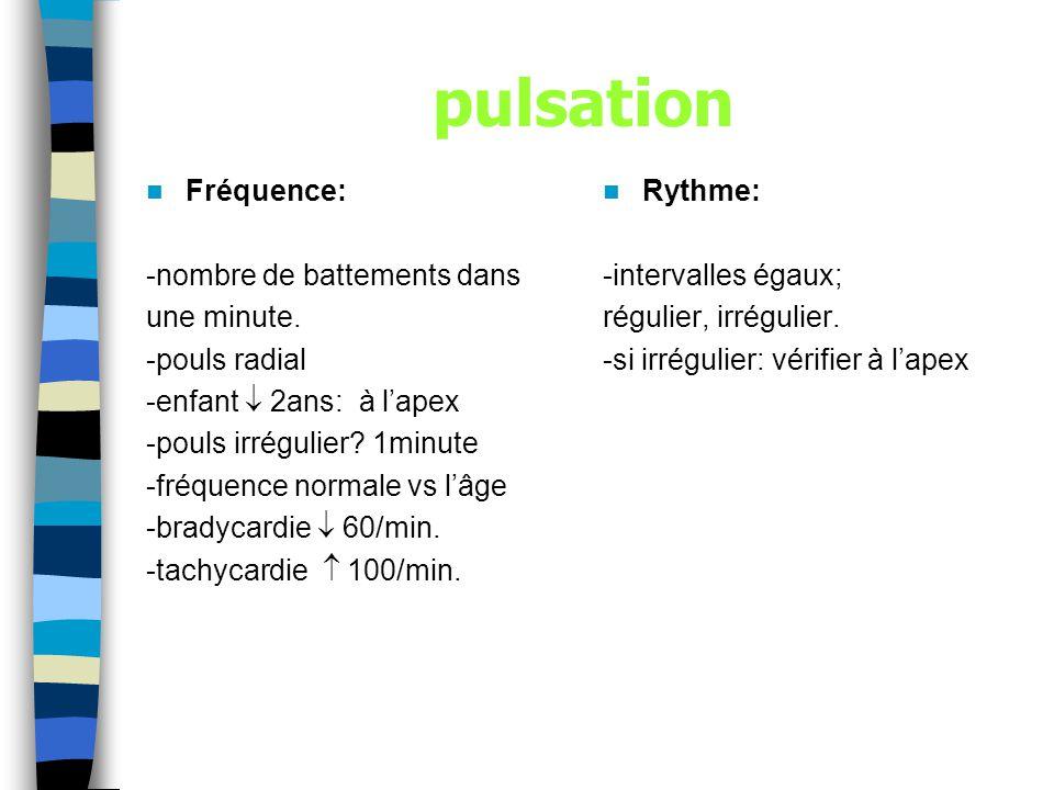 pulsation Fréquence: -nombre de battements dans une minute.