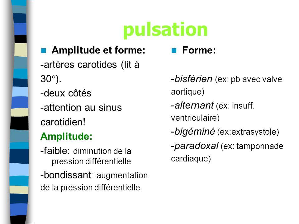 pulsation Amplitude et forme: -artères carotides (lit à 30).