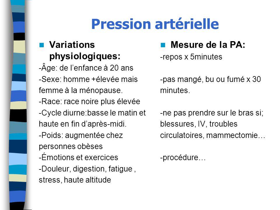Pression artérielle Variations physiologiques: Mesure de la PA: