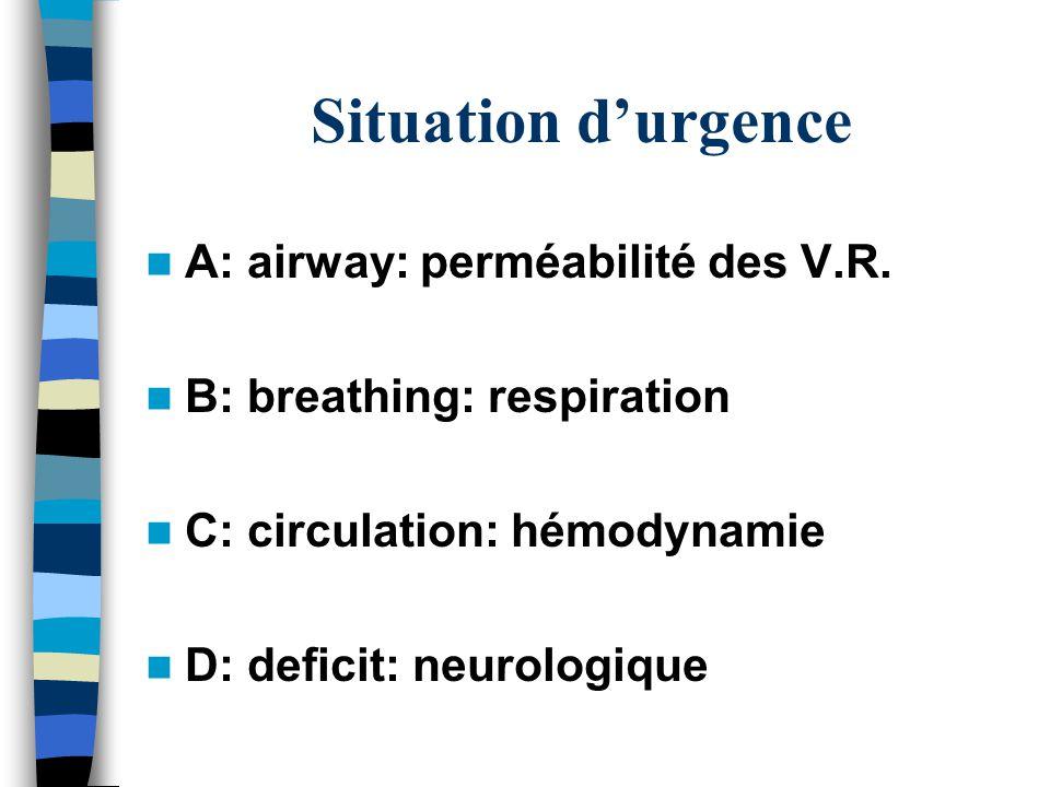 Situation d'urgence A: airway: perméabilité des V.R.