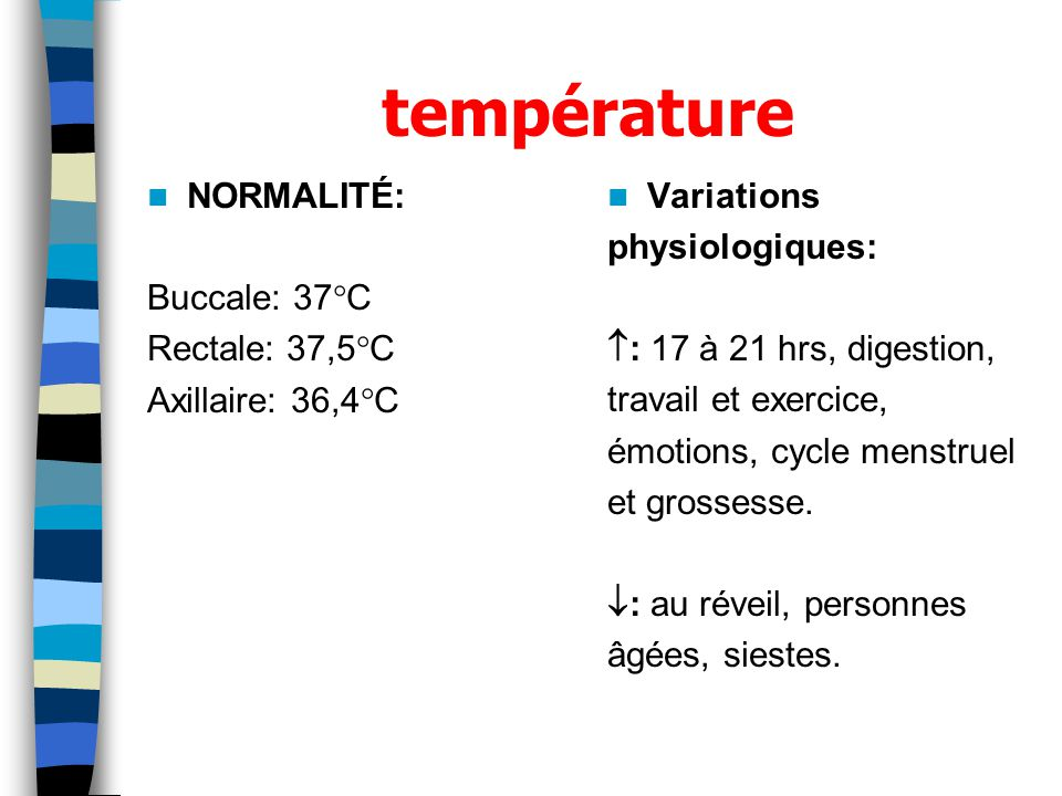 température NORMALITÉ: Buccale: 37C Rectale: 37,5C Axillaire: 36,4C