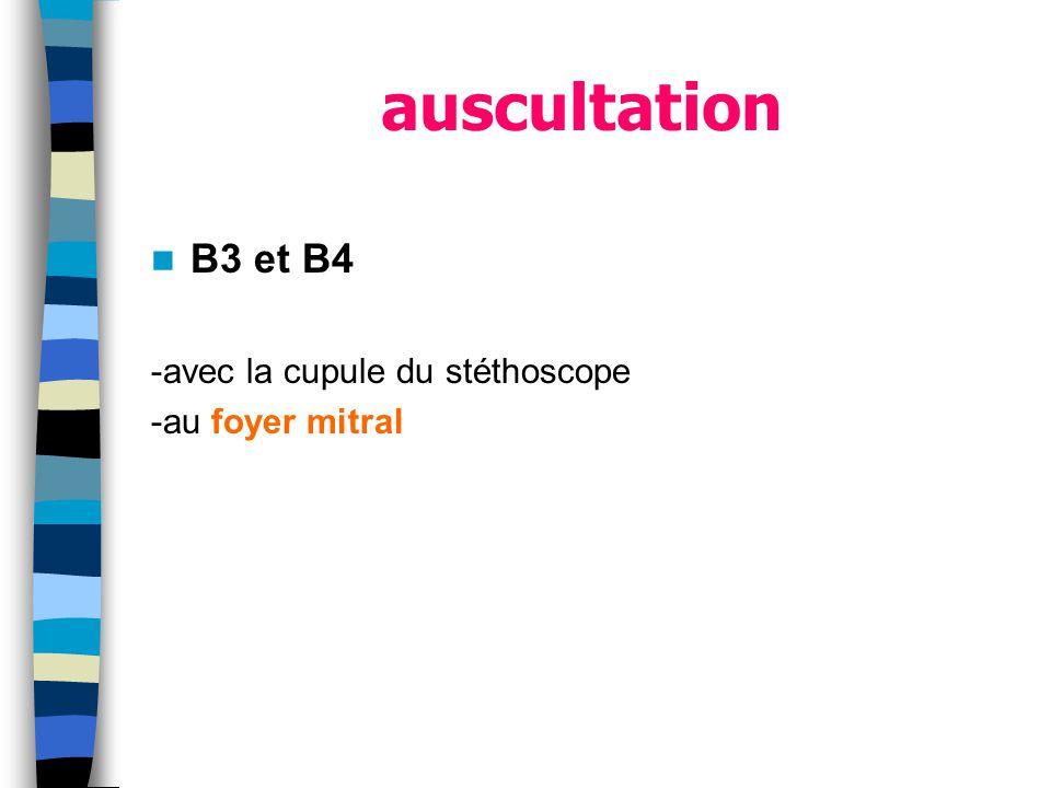 auscultation B3 et B4 -avec la cupule du stéthoscope -au foyer mitral