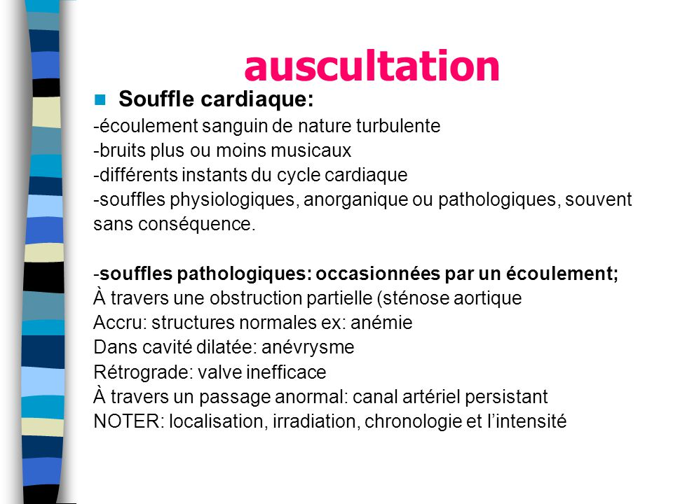 auscultation Souffle cardiaque: