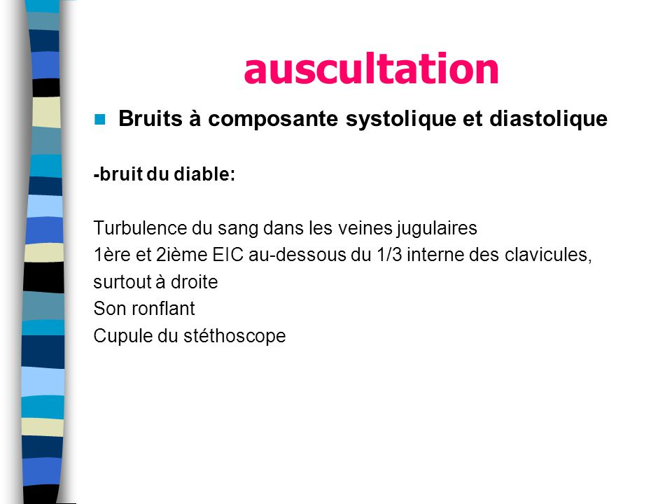 auscultation Bruits à composante systolique et diastolique