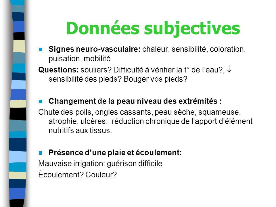 Données subjectives Signes neuro-vasculaire: chaleur, sensibilité, coloration, pulsation, mobilité.