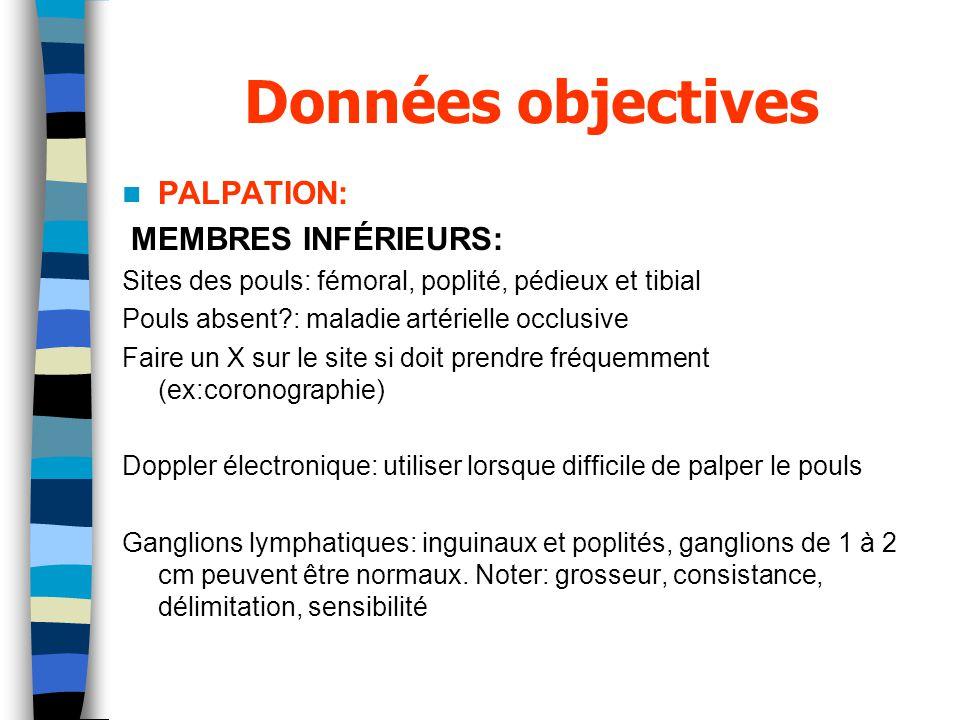 Données objectives PALPATION: MEMBRES INFÉRIEURS: