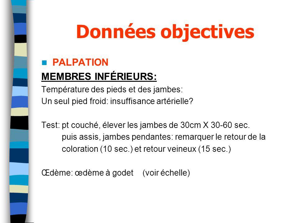 Données objectives PALPATION MEMBRES INFÉRIEURS: