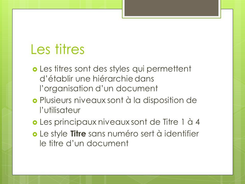 Les titres Les titres sont des styles qui permettent d'établir une hiérarchie dans l'organisation d'un document.