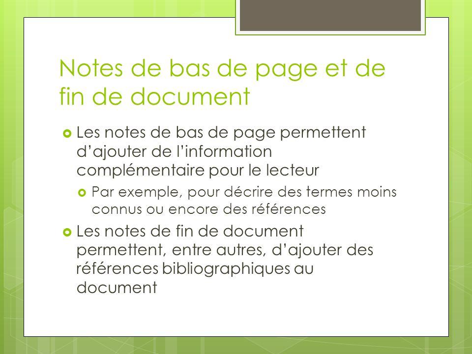 Notes de bas de page et de fin de document