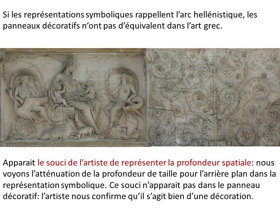 Si les représentations symboliques rappellent l'arc hellénistique, les panneaux décoratifs n'ont pas d'équivalent dans l'art grec.