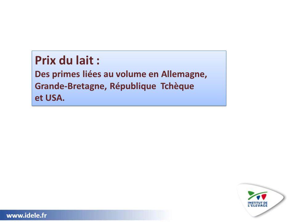 Prix du lait : Des primes liées au volume en Allemagne, Grande-Bretagne, République Tchèque.