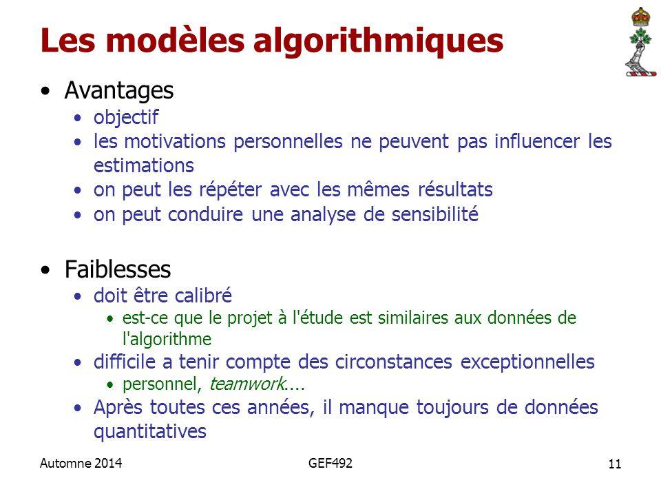 Les modèles algorithmiques