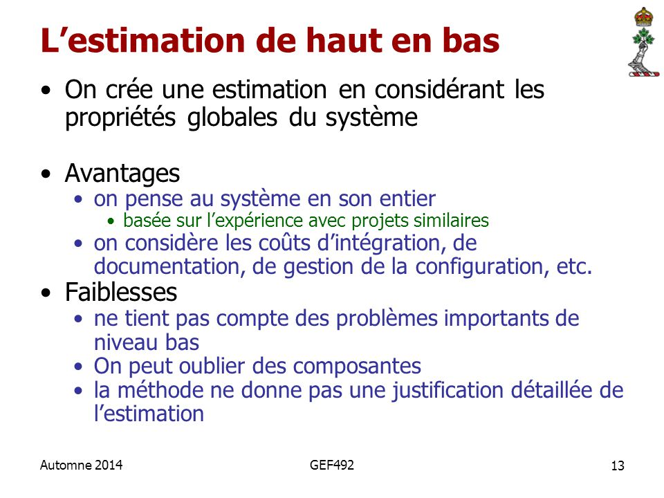 L'estimation de haut en bas